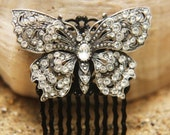 Vintage Rhinestone Butterfly Bridal Hair Comb- Free Shipping
