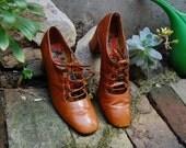 RESERVED for Lisa Mathis Vintage Brown Mod Revival Lace Up Loafer Size 6 1/2