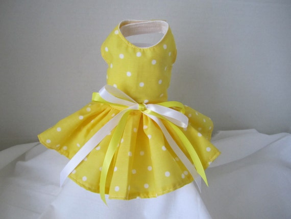 Dog Dress  XS    Yellow with White polka dots   By Nina's Couture Closet