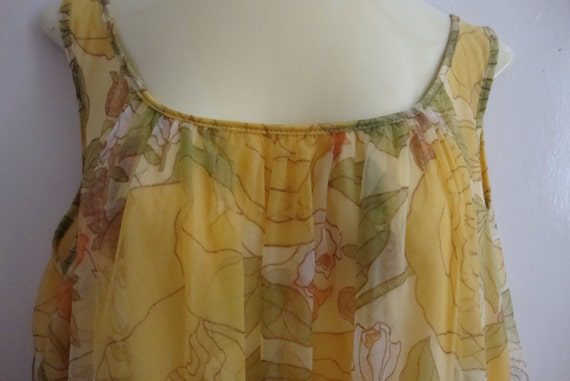REDUCED:  Ethereal Nylon Nightgown  in Sheer Yellow Floral