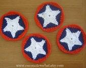 Patriotic Cotton Coasters Set of 4