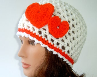 Valentines Day Girl's White Beanie with Two Red Hearts