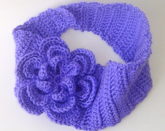 Lilac Ear Warmer Headband with Flower