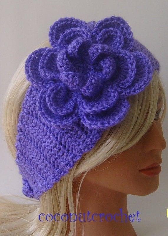 Purple Earwarmer Headband with Flower