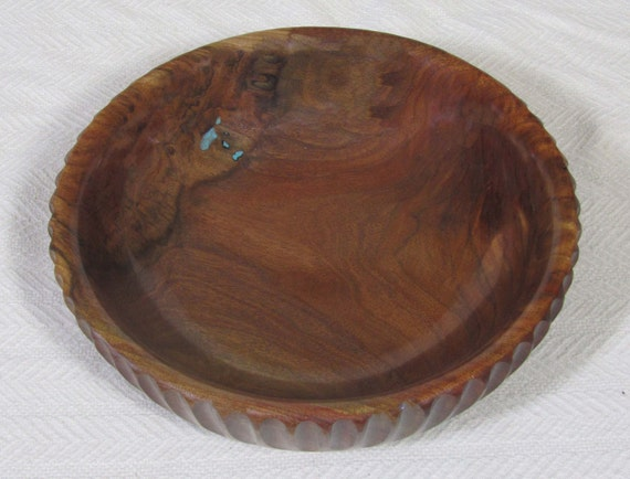 2483 BlackEnglish Walnut Bowl, Turquoise Inlay 11x3 inches