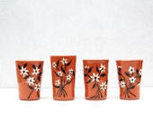 Vintage Ceramic Cups in Red Clay with a White Flower Design - Handmade in France