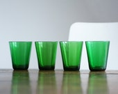 French Vereco Stack Cups in Emerald Green - Set of 5