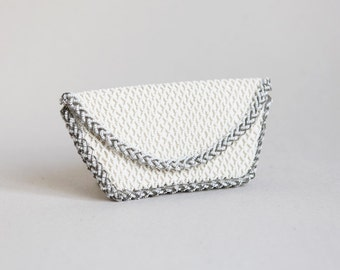 Vintage Beaded Clutch from France in White with a Braided Grey Trim
