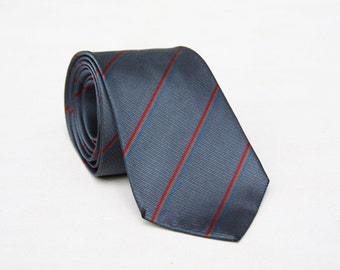 Silk Balmain Designer Tie in Cool Grey with Red/Yellow/Blue Diagonal Stripes