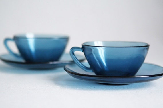 French Vereco Smoky Blue Cups and Saucers - 1960s - Set of 2