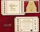 Antique Theatre Ticket Custom  Wedding Invitation Sample Packet - Antique Theatre Ticket