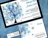 Winter Tree Wedding Invitation - Winter Wonderland Custom Suite with RSVP cards and address labels