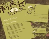 Sage Green and Brown Love Birds in a Tree - Sweet Birdies - Wedding Invitation Sample Packet