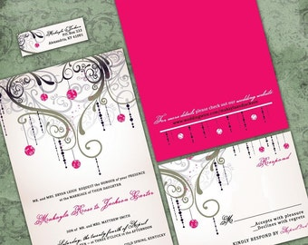 Pink and Black Chandelier Wedding Invitation | Paris Wedding Stationery | Personalized Heart Wedding Invitations | Sample Packet