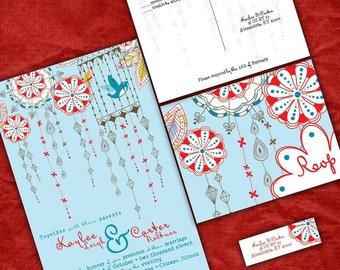 Blue and Red Wedding Invitations  - Love Birds and Lanterns - Sample Packet