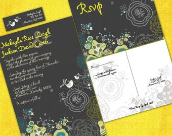 Kaylee's Garden Custom Wedding Invitation Suite with RSVP postcards and address labels