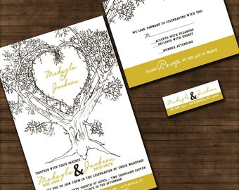 Custom Wedding Invitations - Personalized Oak Tree Wedding Invitation Suite with RSVP cards and address labels