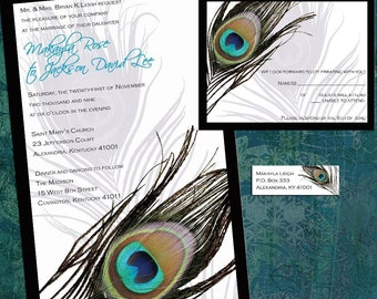 Custom Peacock Feather Wedding Invitation Sample Packet - Framed Peacock