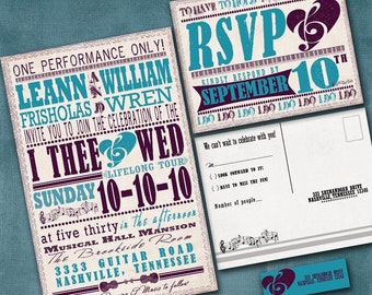 Wedding Invitations, Vintage Rock Poster, Invitation Suite with RSVP postcards and address labels, Blue and Purple