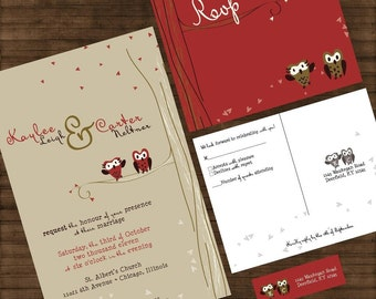 Cute Owl Wedding Invitations - Owl Love You Forever Custom Suite with RSVP postcards and address labels