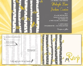 Wedding Invitations - Birch Tree with Love Birds - Yellow and Gray - Sample Packet