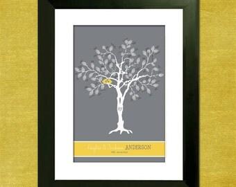 "Custom Wedding Guest Book Thumbprint Tree - 11"" x 14"" Wedding Tree - With Instructions - Love Birdies"