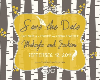 Custom Birch Forest Save the Date Card