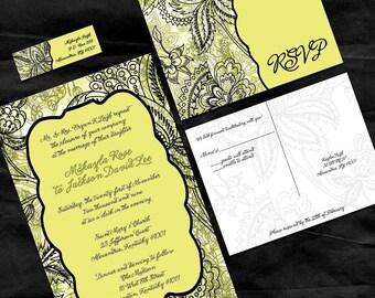 Yellow Damask Custom Wedding Invitations - Sample Packet