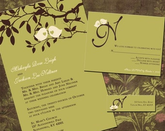 Sweet Birdies Custom Wedding Invitation Suite with RSVP cards and address labels