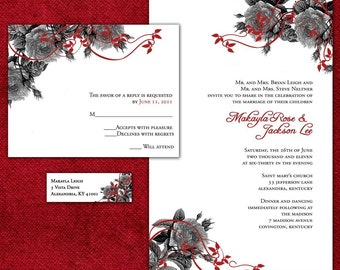 Romantic Red Roses Custom Wedding Invitation Suite with RSVP cards and address labels