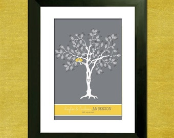"""Wedding Tree Guest Book Alternative- Thumbprint Tree - Custom Love Birdies 16"""" x 24"""" Wedding Tree - 75-200 Thumbprints - Gray and Yellow"""