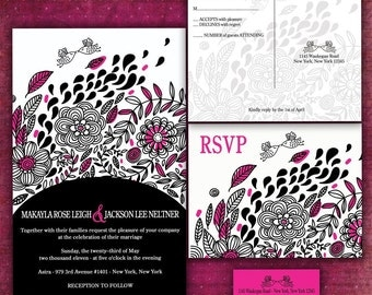 Personalized Wedding Invitation Black and PInk Love Birds -Sample Packet
