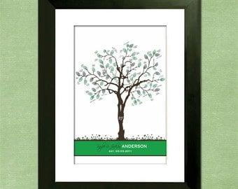 Custom Wedding Guest Book Fingerprint Tree - Summer Splendor  - 50-125  Prints