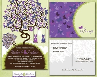 Rabbits in a Tree - Some Bunny Loves You Custom Wedding Invitation Suite  - Sample Packet