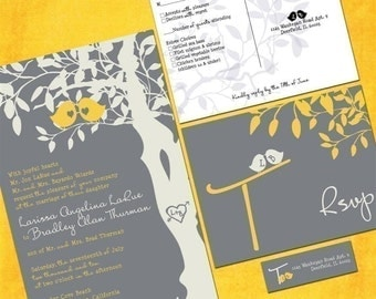 Custom Wedding Invitation Set - Gray and Yellow Love Birdies - Sample Packet - Custom Love Birds