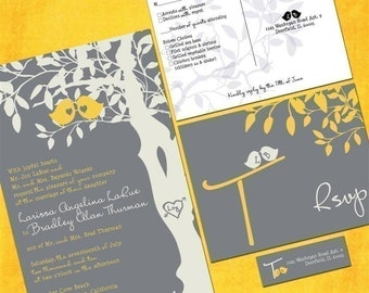 Love Birds Wedding Invitation Sample Packet - Custom Love Birdies