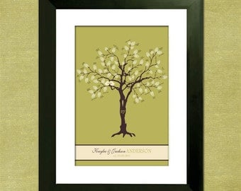 "Thumbprint Wedding Tree Guest Book Alternative - Sweet Birdies 16"" x 24"" Wedding Tree"