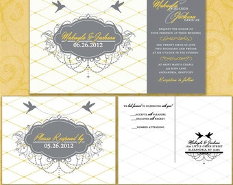 Stripes and Swirls Custom Wedding Invitation Suite with RSVP postcards and address labels