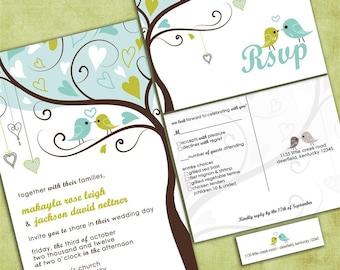 Love Birds in a Tree Wedding Invitation - Tweet Tweet  - Sample Packet