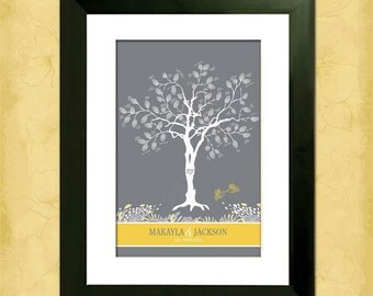 "Whimsical Birdies Custom 16"" x 24"" Wedding Tree - With Instructions - Love birds in a Tree - Thumbprint tree"