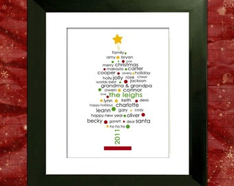 Personalized Christmas Tree - Custom Art PDF - Digital Family Tree -  Holiday Gift or Decor - Cyber Monday Sale