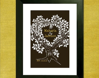 "Wedding Guest Book Signature Tree - Personalized Oak Tree - 16"" x 24"" - Signature Only - Up to 150 guests"