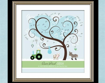 Tree baby shower guest b ook personalized farm theme baby shower