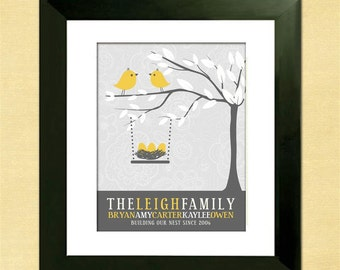 Personalized Family Tree - Love Bird Family - Custom Art Print - Christmas Gift - Nursery Art - Personalized Gift for Wife