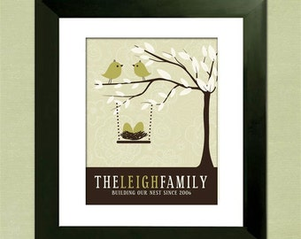 Christmas Gift, Family Tree with Love Birds, Personalized Family Tree,  Custom Art Print,  Personalized Baby Shower, or Housewarming Gift