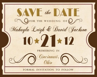 Antique Theatre Ticket Custom - Save the Date Magnet
