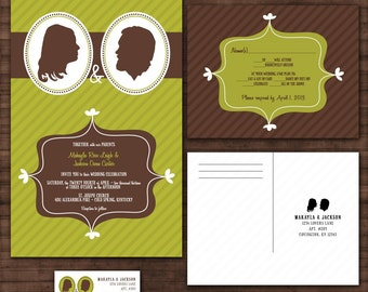 Custom Retro Silhouette Wedding Invitation Suite with RSVP postcards and address labels
