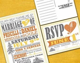 Vintage Redwood Poster Custom Wedding Invitation Suite with RSVP postcards - Digital Files - DIY Wedding