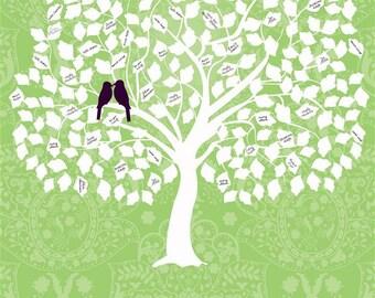 Wedding Guest Book Signature Tree - Personalized Sage Tree - Custom PDF - DIY Wedding - Print it Yourself