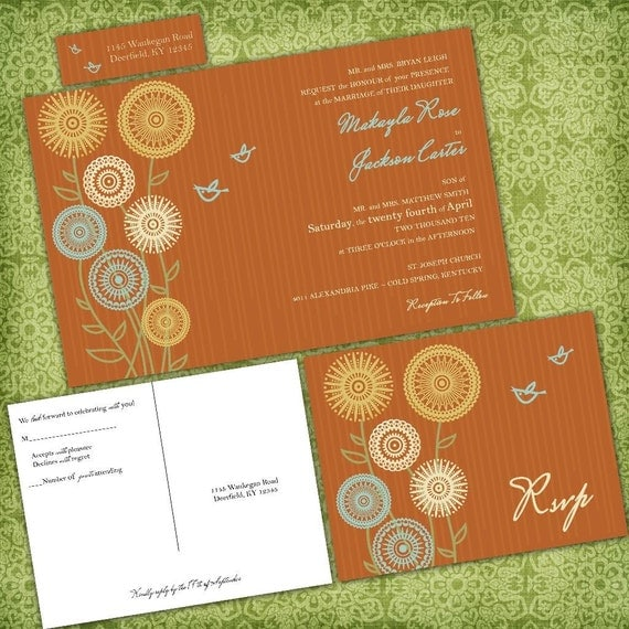 Sunflower Wedding Invitations, Whimsical Love Birds Invites, Orange, Green and Yellow, Sample Packet